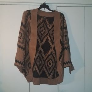 Tan and black knitted shrug